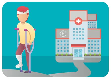 Flat design illustration of injured man with broken leg coming out of a hospital.