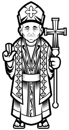 Pope, bishop or catholic cardinal mascot in black and white.