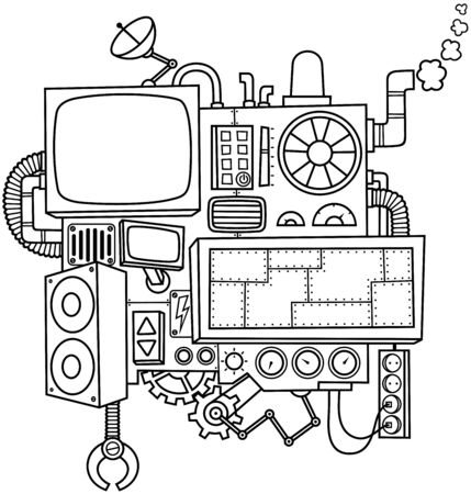 Fictional cartoon machine in black and white for coloring. Illustration