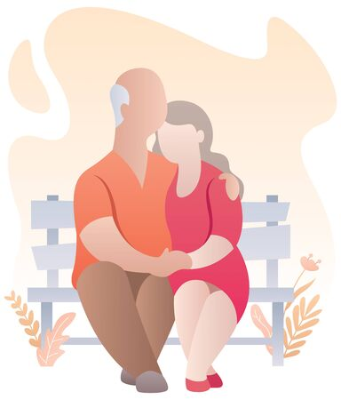Cartoon illustration of elderly couple over white background. Иллюстрация