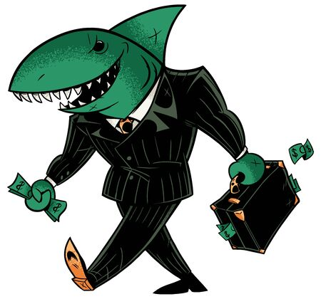 Concept illustration with cartoon business shark holding briefcase. Vectores