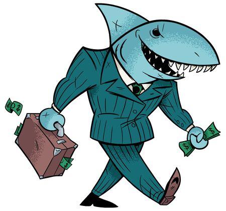 Concept illustration with cartoon business shark holding briefcase. Banco de Imagens - 129719698