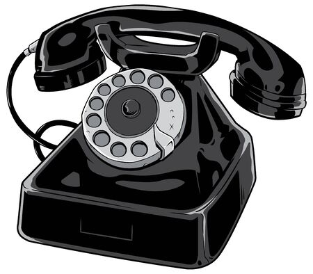 Cartoon illustration of an old phone isolated on white background. Иллюстрация
