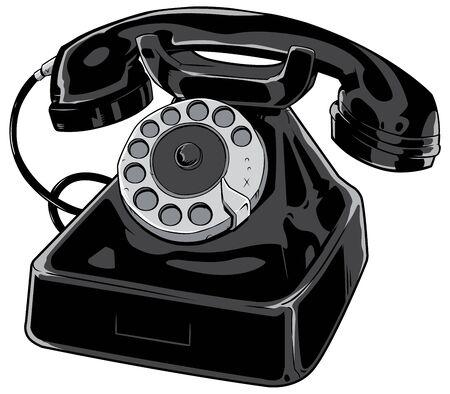 Cartoon illustration of an old phone isolated on white background. Illustration