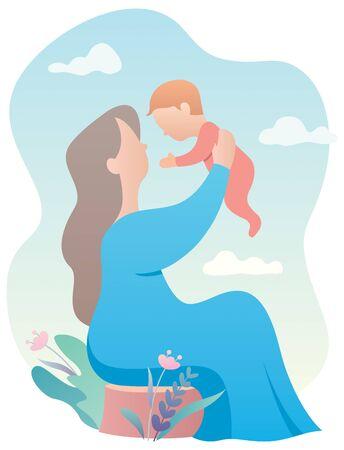 Ilustración de dibujos animados de abuela sosteniendo a su nieto.