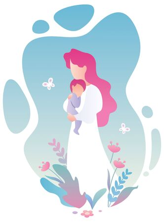 Flat design illustration of mother and child.