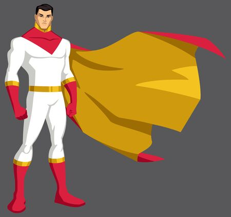 Asian superhero standing tall, isolated on grey background. 矢量图像