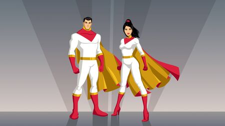 Male and female Asian superheroes posing in front of light. Stockfoto - 129719706