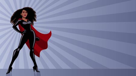 Full length illustration of determined and powerful black superheroine wearing red cape while standing tall against abstract ray light background.