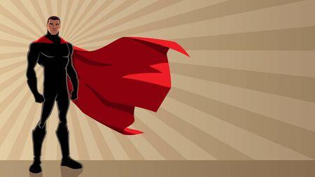 Super-héros noir debout sur fond clair de rayon abstrait avec espace de copie.