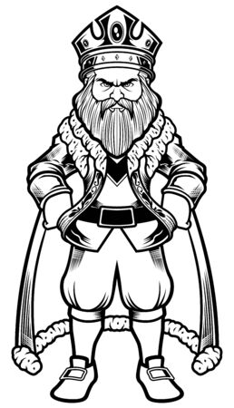 Line art illustration of a standing king.
