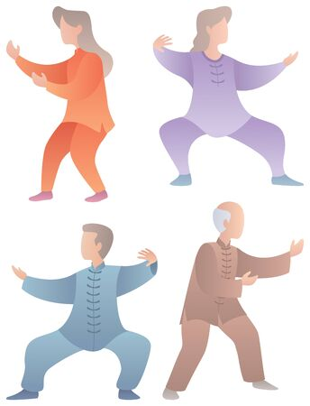 Set of 4 flat design senior characters practicing qigong or tai chi.