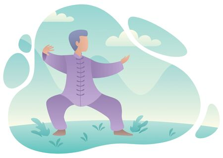 Flat design illustration of a man practicing qigong or tai chi.