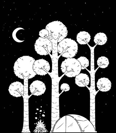 Black and white cartoon illustration of forest camp at night.