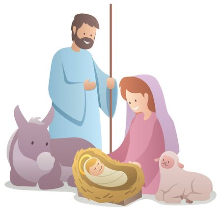 Flat design illustration of the nativity scene.  イラスト・ベクター素材