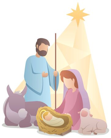 Flat design illustration of the nativity scene. Çizim