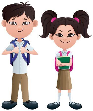 Vector illustration of Asian schoolboy and schoolgirl. Illustration