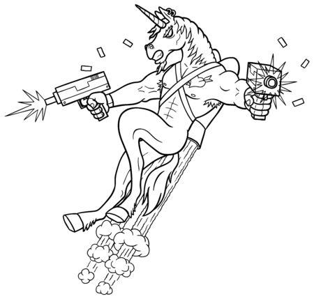Illustration d'art au trait du personnage de tueur de licorne tirant avec des armes à feu Uzi.