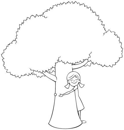 Cartoon line art illustration of little girl hugging tree. 向量圖像