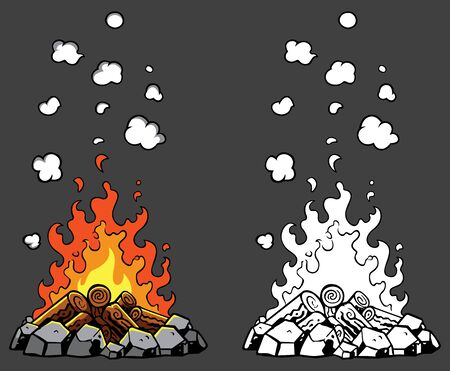 Illustration of campfire in 2 versions - colored and black and white. Stock Illustratie