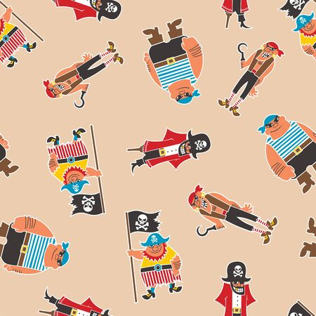 Seamless Pattern with a bunch of funny cartoon pirates. Ilustrace