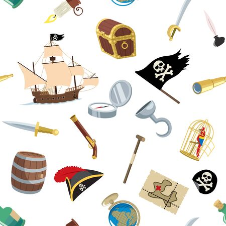 Seamless pattern with cartoon pirate accessories on white background.