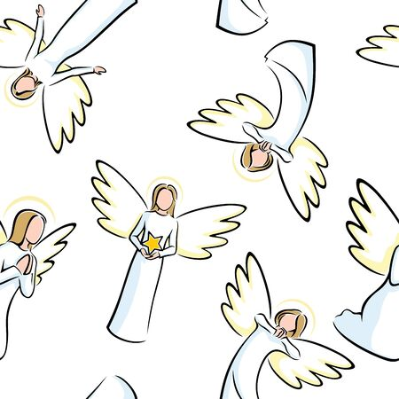 Seamless pattern with angels on white background.
