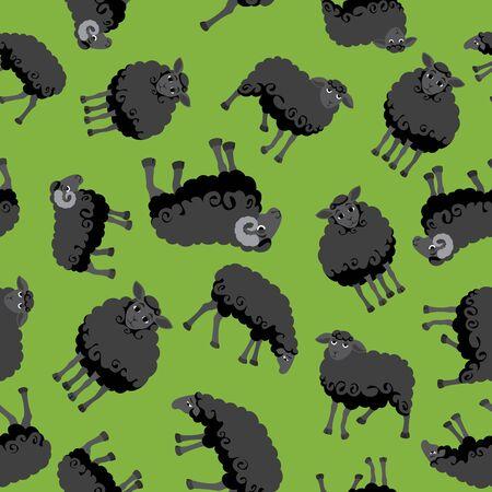 Seamless pattern with funny cartoon black sheep. Çizim