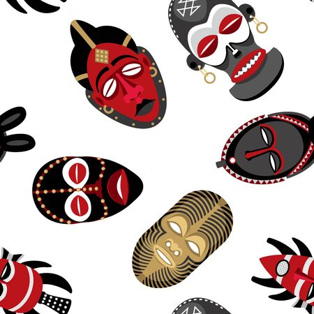 Seamless pattern with African masks on white background.