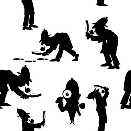 Seamless pattern with cartoon detective in different poses.
