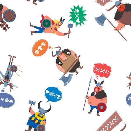 Colorful seamless pattern with funny cartoon Vikings. Ilustrace