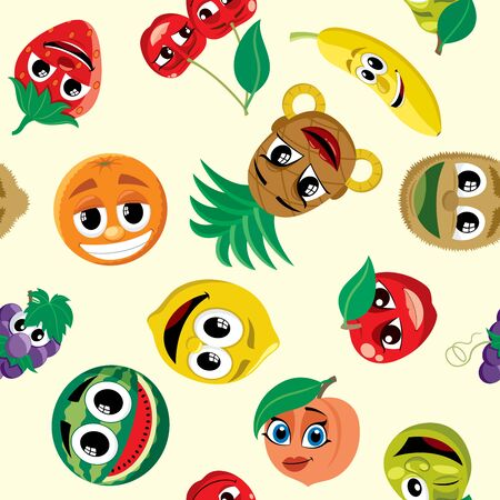 Seamless pattern with a bunch of cartoon fruits. Ilustrace