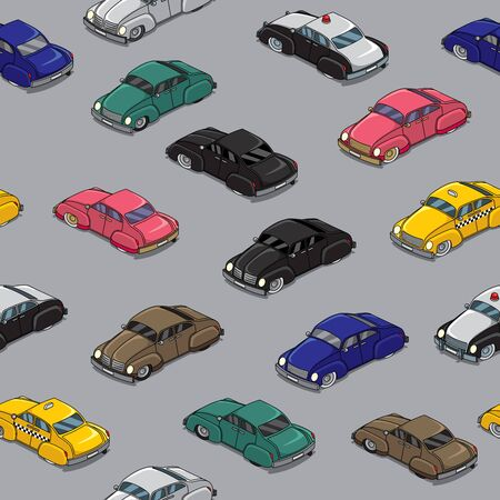 Seamless pattern with cartoon retro cars in traffic jam.