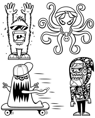 Set of 4 graffiti monster sticker line art designs. Ilustrace