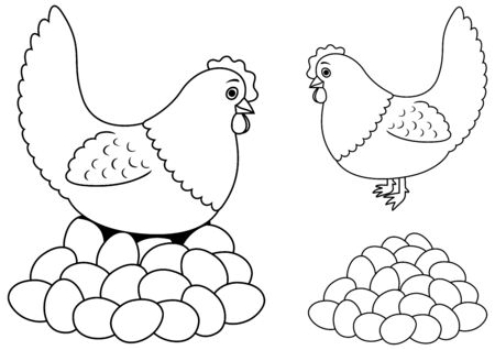 Line art illustration of hen and a big pile of eggs.