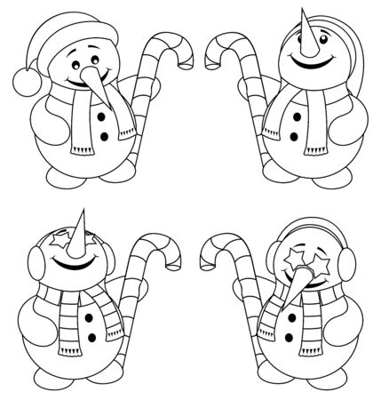 Little snowman with Christmas hat and candy cane and in 4 versions.