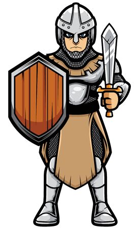 Cartoon illustration depicting medieval soldier on white background. Illustration