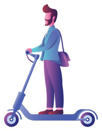 Flat design with man on electric scooter over white background. Ilustrace