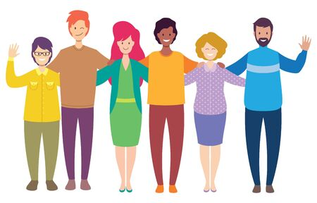 Flat design illustration of a group of happy friends isolated on white background.