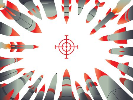 Concept illustration for conflict, war or any type of attack, depicting nuclear missiles headed towards their target. Ilustrace