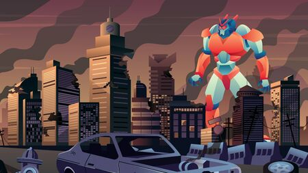 Giant robot walking in city in ruins.