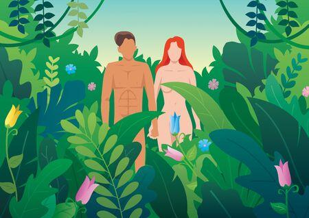 Illustration d'Adam et Eve dans le jardin d'Eden.