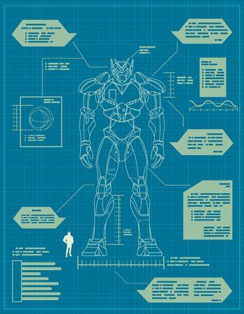 Blauwdruk voor de bouw van een gigantische robot.