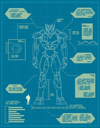 Blueprint for the construction of a giant robot. Vettoriali