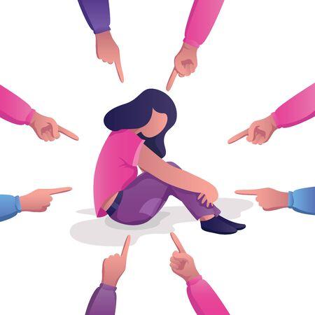 Konzeptionelle flache Designillustration für Schuld, Opfer, Schuldzuweisung, öffentliche Missbilligung, Demütigung und Ablehnung, die eine traurige Frau darstellt, umgeben von Händen mit Zeigefingern, die auf sie zeigen.
