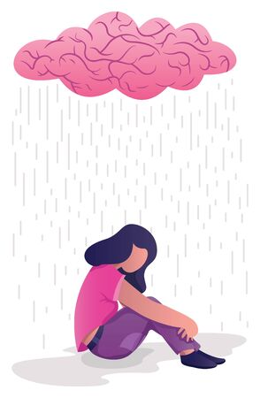 Conceptual flat design illustration for depression, depicting woman, sitting on the ground with human brain shaped like rain cloud above her.
