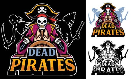 Cartoon mascot with dead pirates.