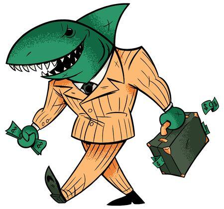 Concept illustration with cartoon business shark holding briefcase. Ilustração