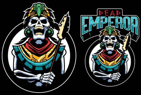 Mascotte dei cartoni animati con morti Inca o imperatore azteco.