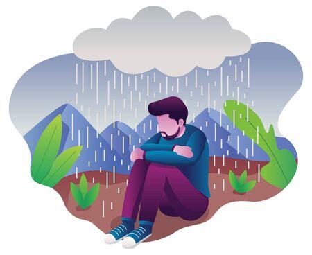 Conceptual flat design illustration for depression, depicting man, sitting on the ground with dark cloud above him. Ilustração